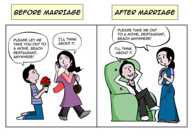 narrate life before after marriage