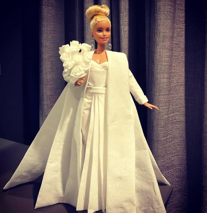 Man Uses Tissues And Toilet Paper To Create Wedding Dresses For His
