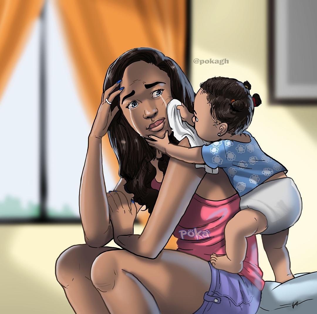 Beautiful Illustration of mother and child