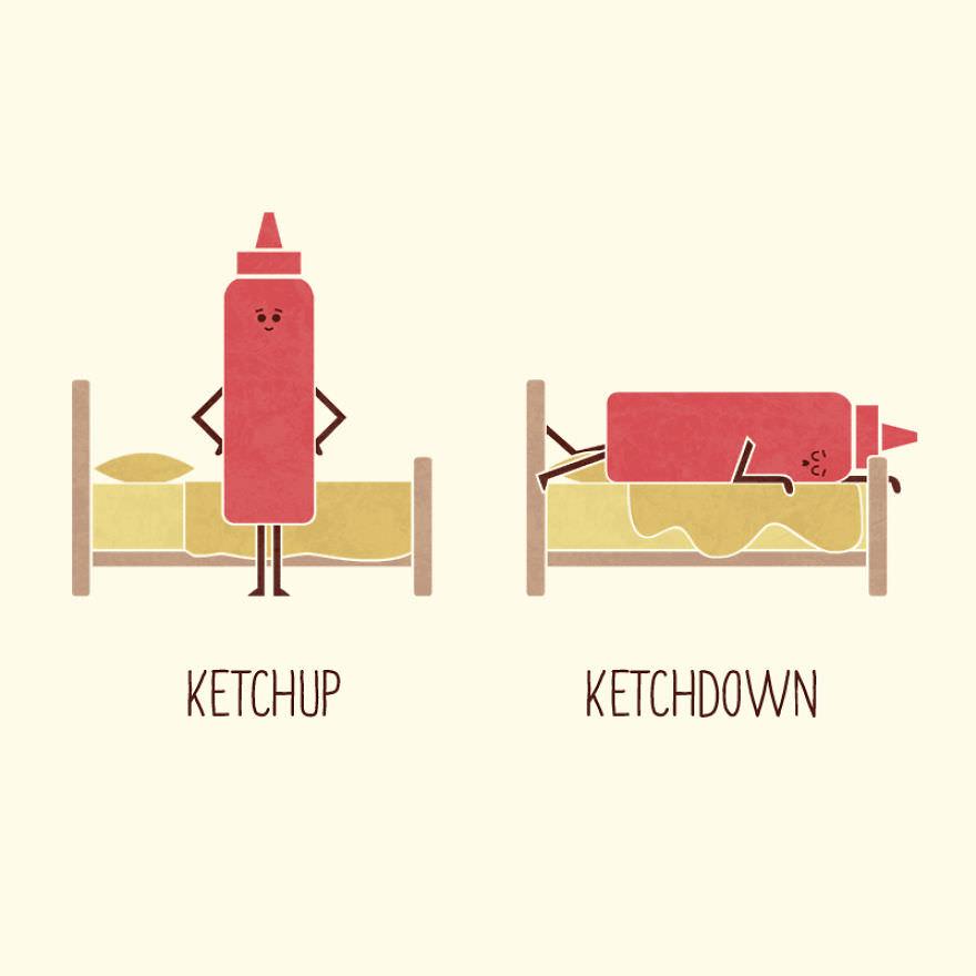 artist draws puns opposites