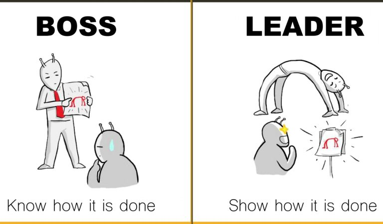 Illustrations That Perfectly Depicts The Difference Between A Boss & A Leader
