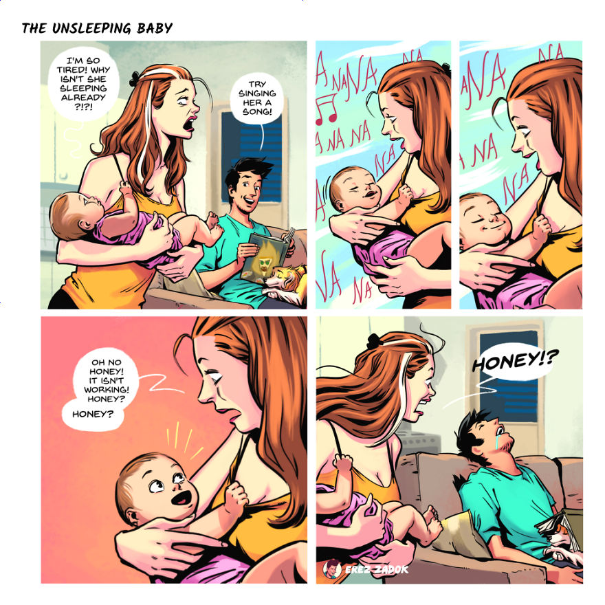 Artist Illustrates Everyday Life With His Wife And A Newborn Baby And A Dog