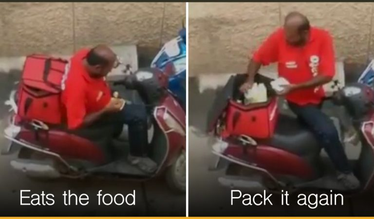 Zomato Delivery Man Eats From Client's Food And Seals It Back