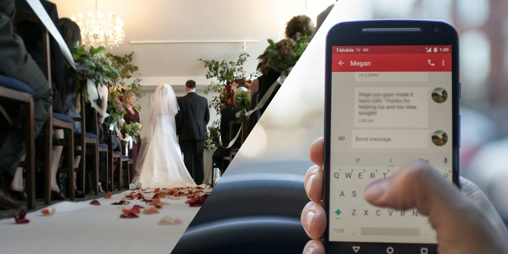 bride read fling messages groom