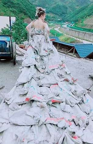 Chinese Woman Makes Stunning Wedding Dress With 40 Cement Bags