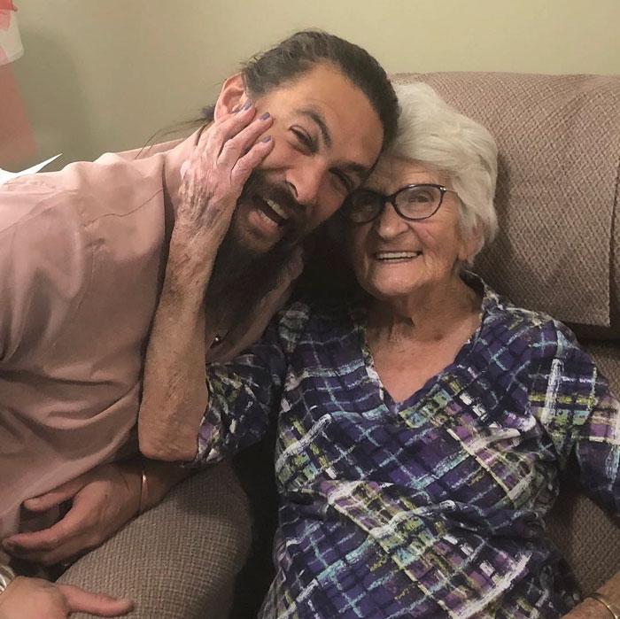 Jason Momoa visiting grandma
