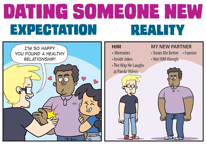 True Comic Illustration Depicting Expectation Vs Reality Of Being Friends With Your Ex