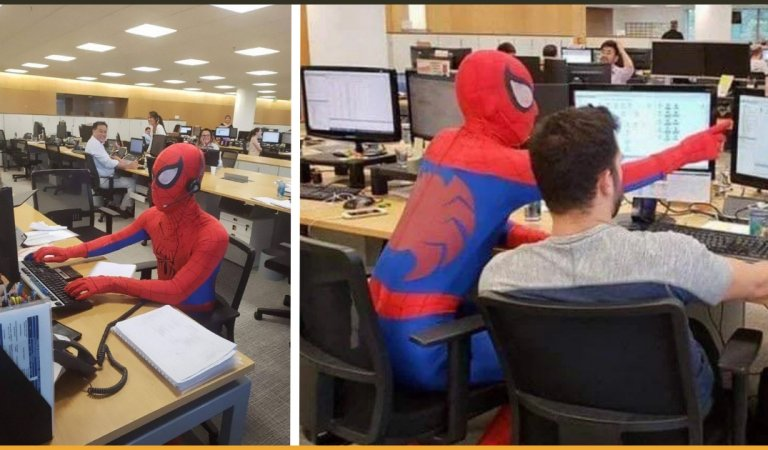 Man Shows Up In A SpiderMan Costume On The Last Day Of His Job