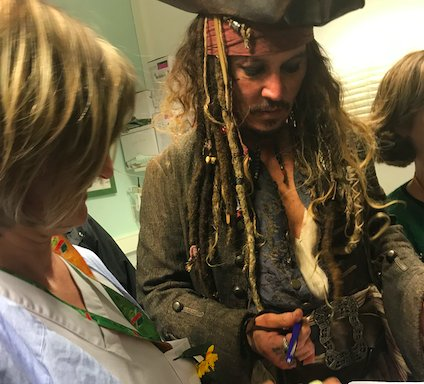 johnny depp, captain jack sparrow, children's hospital