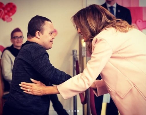 Melania Trump Receives A Silver Necklace On Valentine's Day By A Teenage Boy