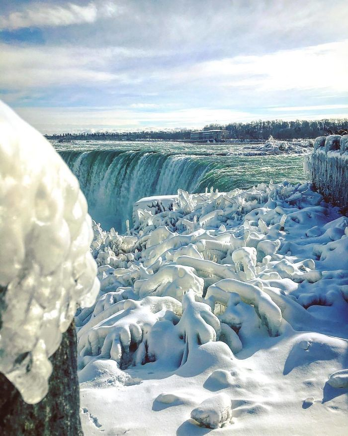 Niagara Falls Freezes Due To Cold Climate In North America
