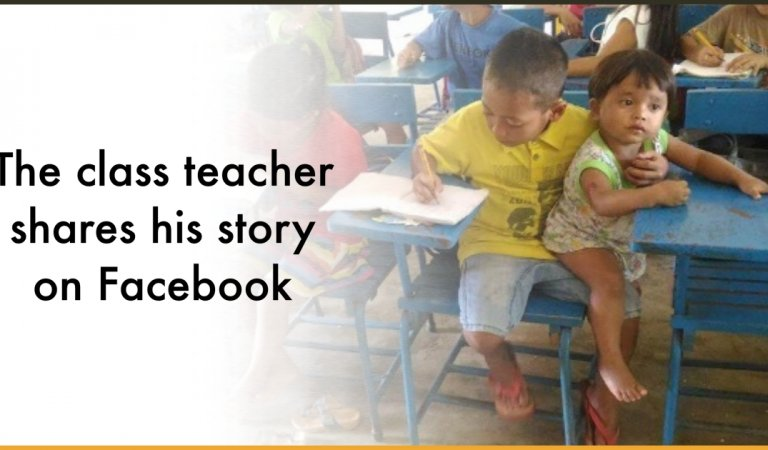 Little Filipino Boy Takes His Baby Brother To Class So That He Does Not Miss School