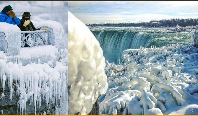 Niagara Falls Freezes Due To A Severely Cold Climate In North America