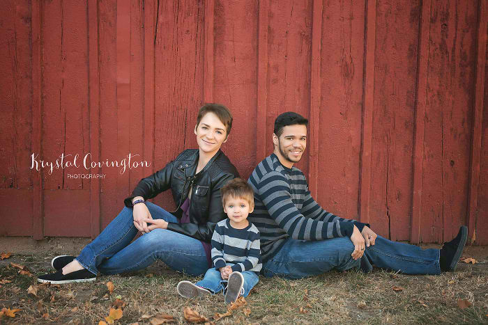 divorced couple reunites every year for family pictures for their son