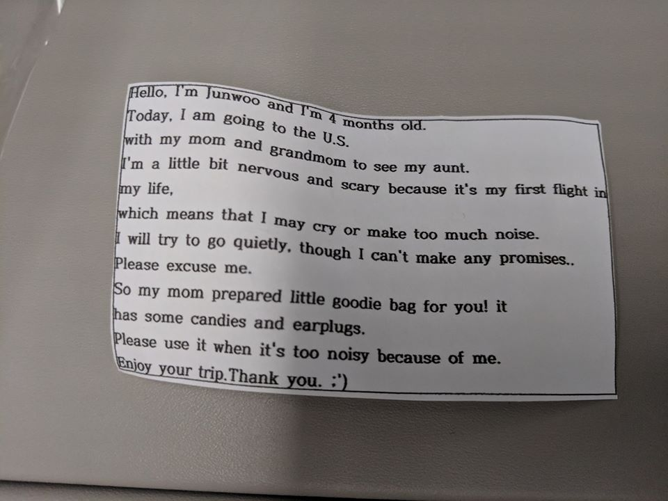 Mother Distributes Goodie Bags To 200 Flight Passengers In Case Her Baby Starts Crying