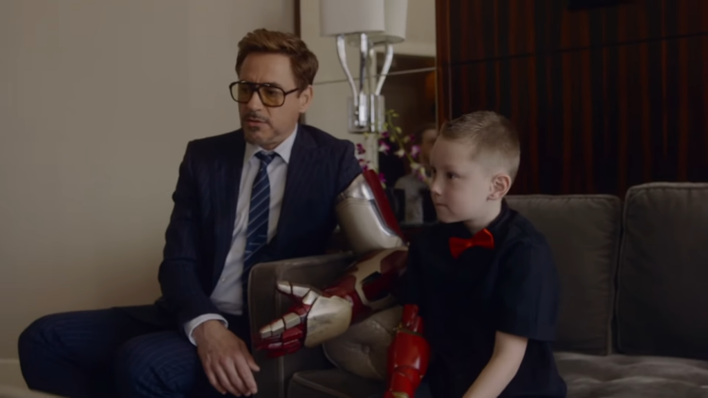 7 Year Old Boy Receives Real Iron Man's Bionic Hand From Iron Man Himself