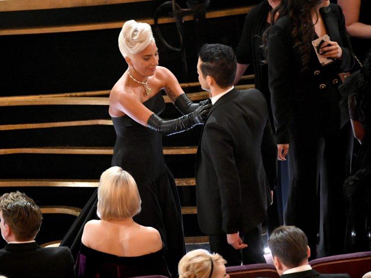 Lady Gaga Fixes Bowtie Of Rami Malek At The Oscars And Won Everybody's Hearts