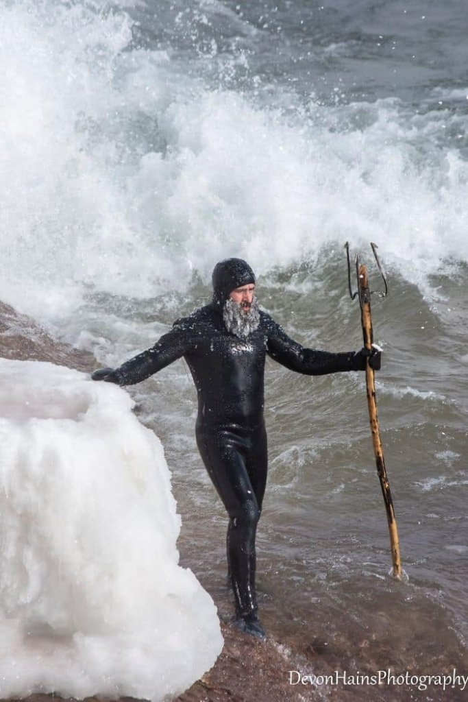 Two Surfers Catch Waves During Polar Vortex