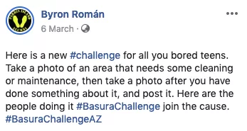 Facebook User Byron Roman posts about #TrashTag Challenge on his Facebook profile