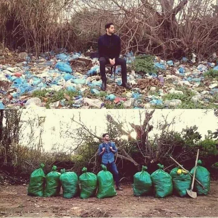 The before and after image shared by Facebook user Byron Roman about #TrashTag Challenge
