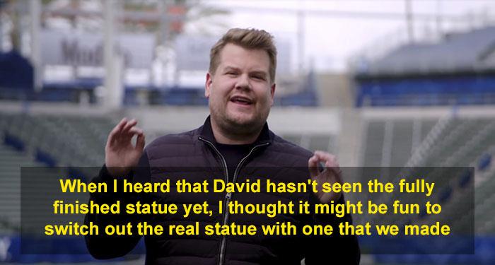 James Corden Pulls Off A Hilarious Prank On David Beckham With A Hideous Statue