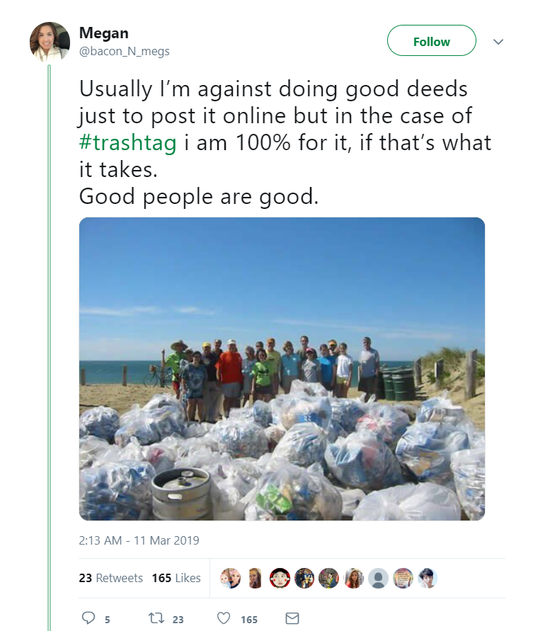 Twitter user Megan shares her family picture while picking up trash for the TrashTag challenge