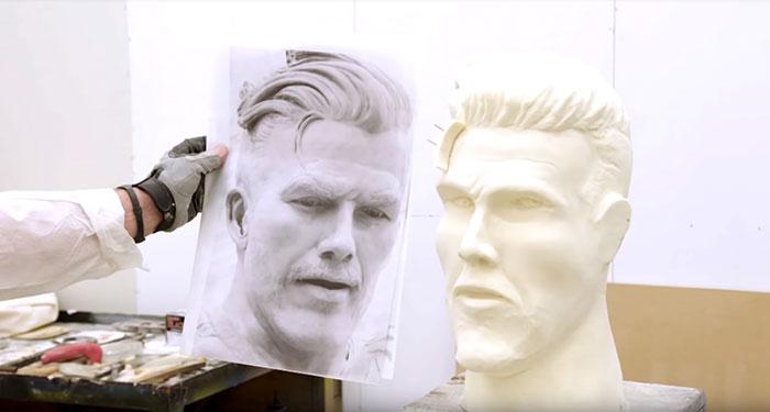 David Beckham prank with a hideous statue