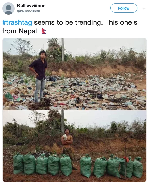 Twitter user Kelvin shares an image about Trash tag challenge on his profile