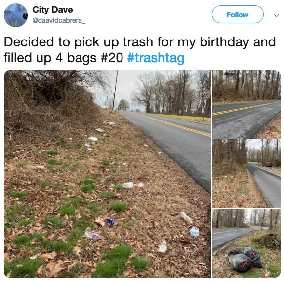 Twitter user David picks up trash on his birthday