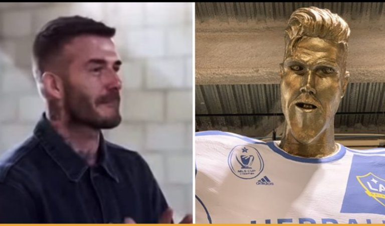 James Corden Pulls Off A Hilarious Prank On David Beckham With A Hideous Statue