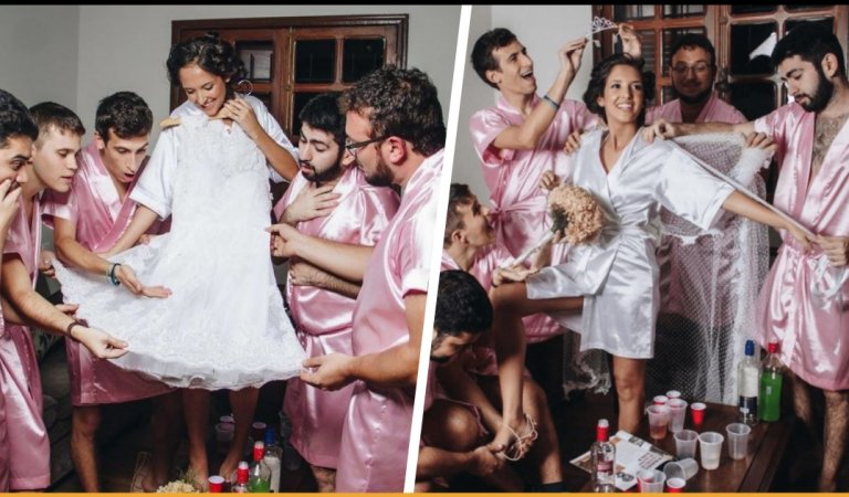 This Bride Had No Girlfriends So Her Guy Friends Stepped In For An Unconventional Photoshoot