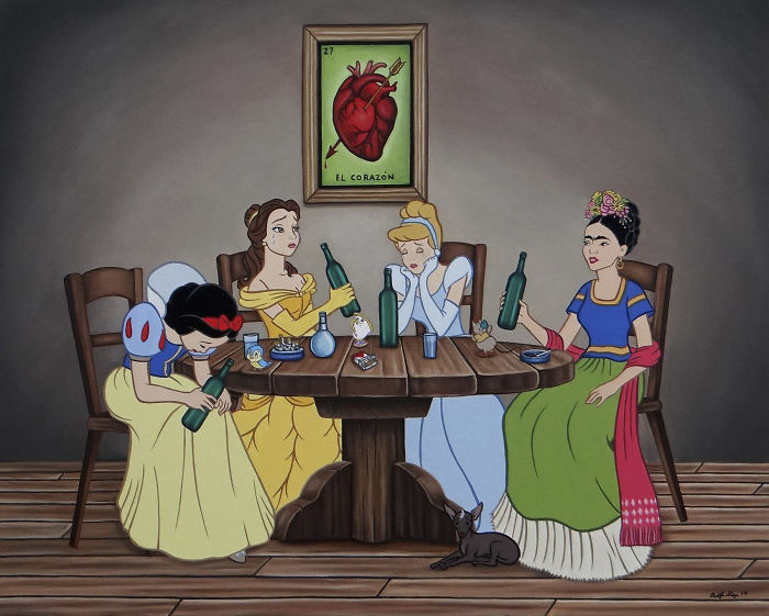 illustrations showing disney characters in modern times