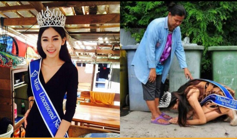 Thai Pageant Queen Bows Down To Her 'Garbage Collector' Mother To Say Thanks For Raising Her