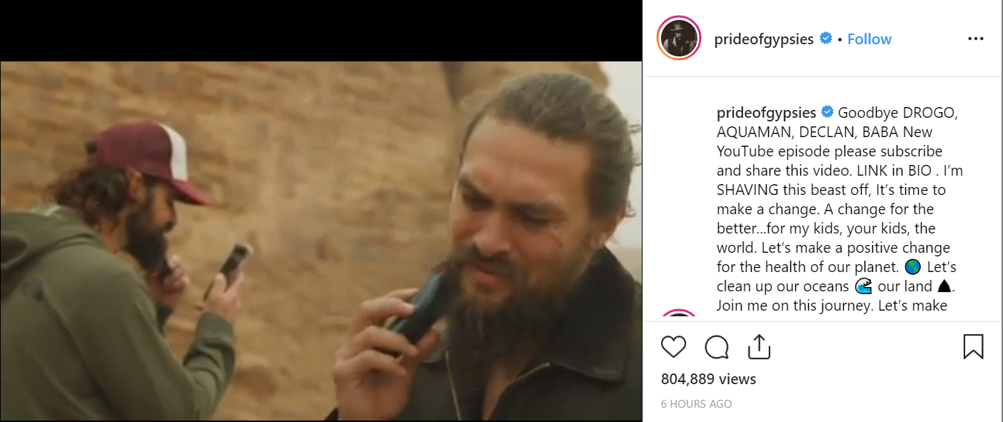 Our Beloved Khal Drogo And Aquaman Shaved Off His Beared For This Cause