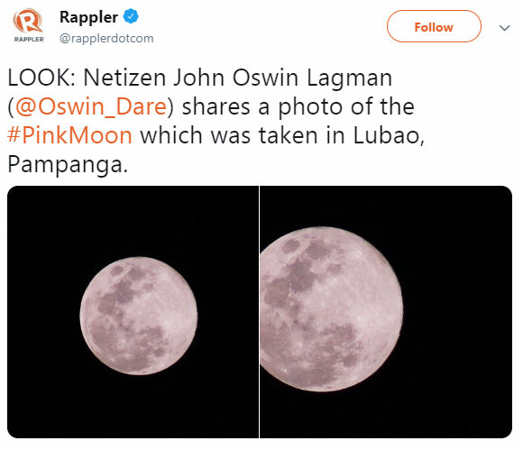 Sky Is Filled With Moonlight From Pink Moon and Internet From Pictures Of It