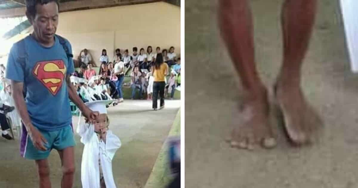 Father Came Barefoot At Daughter's Graduation And Earned A Lot Of Praising And Admiration