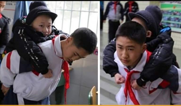 This 12-Year-Old Boy Carried His Best Friend To Class On his Back Everyday For Six Years
