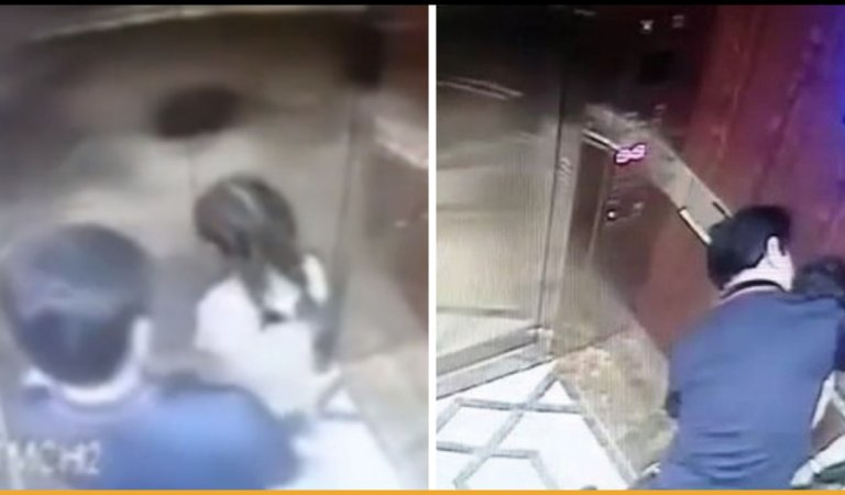 61-Year-Old Man Harassing A Little Girl In An Elevator Caught On CCTV