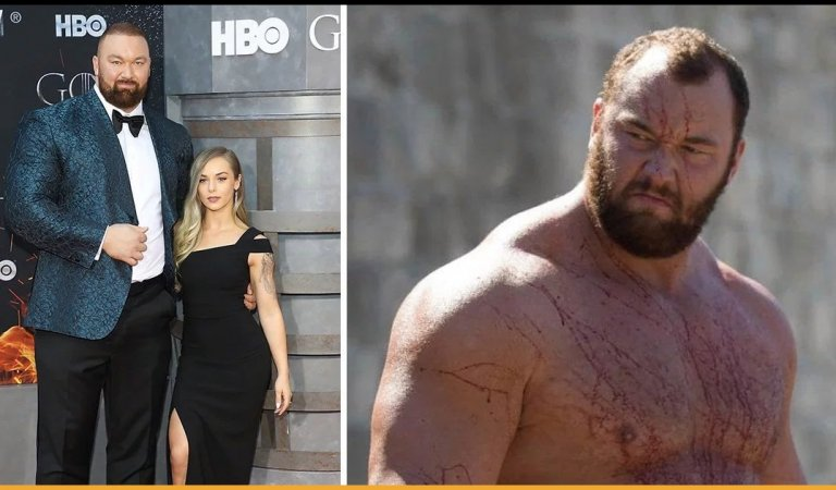 Game Of Thrones Fame The Mountain Poses With His Wife At The Show's Premiere
