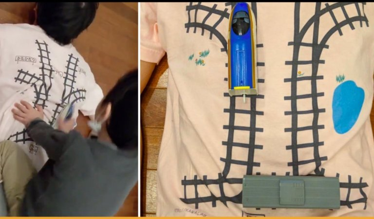 Father Designs Unique T-shirt & Turns Son's Obsession For Train Toys Into Getting Free Back Massage