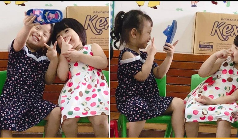 Two Girls Uses A Peppa Pig Slipper To Click Selfies And It's Just So Cute