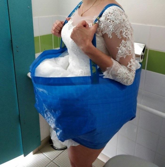 Going To The bathroom Would Not Be A Problem For A Bride In That Wedding Dress With This IKEA Bag Hack