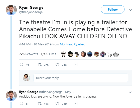 Movie Theatre Accidently Plays La Llorona Instead Of Detective Pikachu