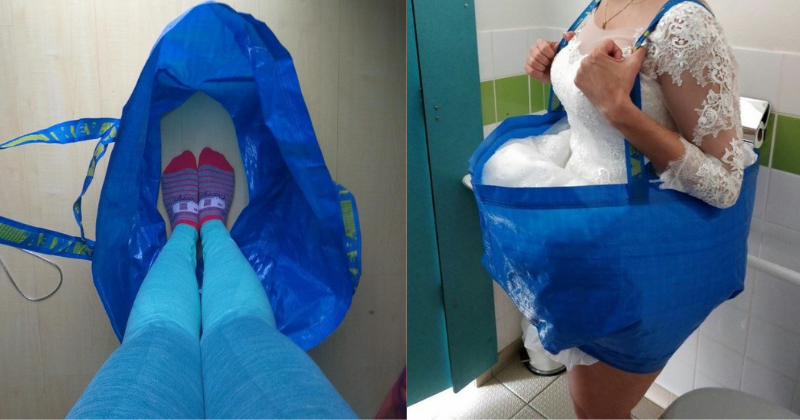 Going To The Loo Would Not Be A Problem For A Bride In That Wedding Dress With This IKEA Bag Hack