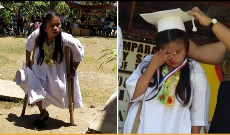 Girl With One Leg In Philippines Completed School By Walking, Becomes An Inspiration