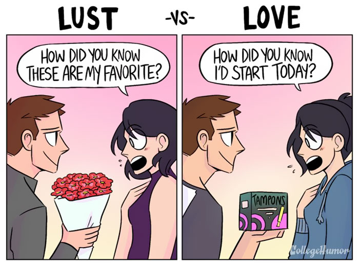 comic strips showing difference between love and lust