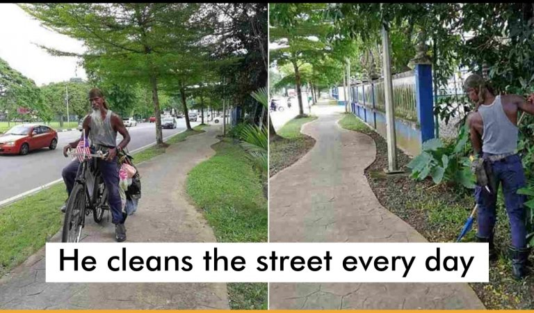 Malaysian Man Cleans The Streets Of His Hometown For Free Instead Of Getting A Job