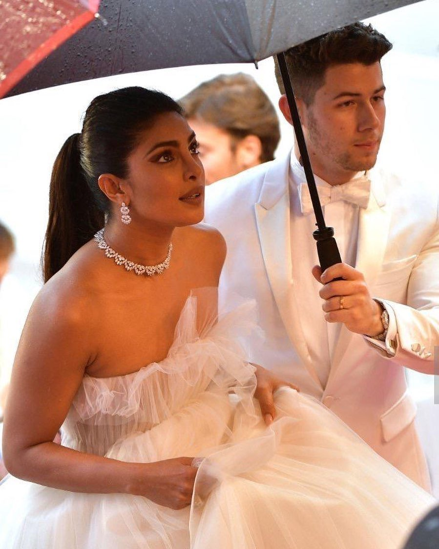 priyanka chopra slayed in metallic high slit dress with nick jonas