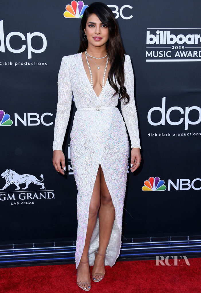 Priyanka Chopra Sparkled In White Gown On Red Carpet Alongside Nick Jonas At Billboard Awards