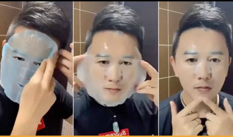 Satisfying Video Of A Man Applying A Sheet Face Mask Perfectly Goes Viral